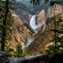 Big waterfall surrounded by huge cliffs are tall pine trees