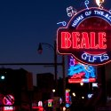 Red and blue neon sign of Beale St. in Memphis, Tennessee at night.