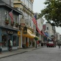 A road with shops during the daytime in Newport, Rhode Island
