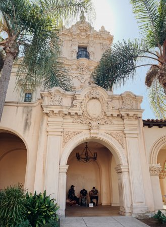 The facade of a Spanish-Colonial building inside Balboa Park, San Diego, California.