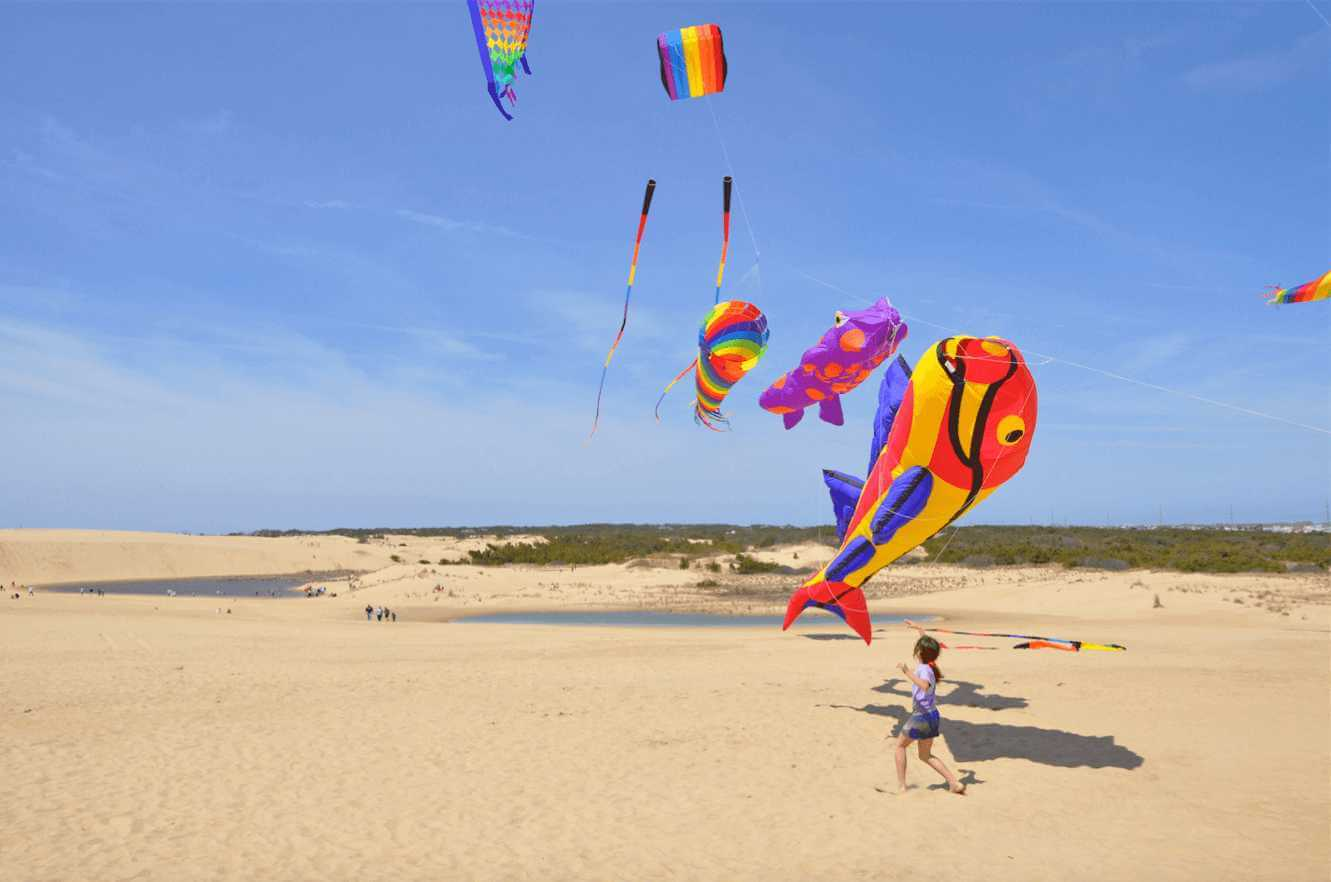 Child flying one of many large kites at Jockeys Ridge in The Outer Banks, NC.