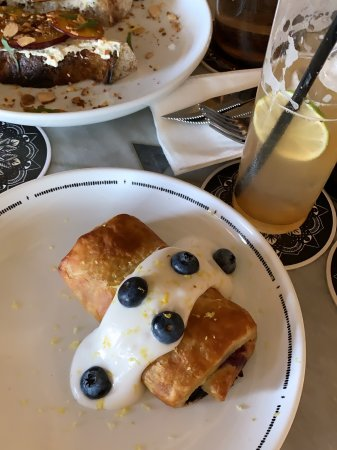 A blueberry and lemon breakfast strudel at Kindred, a local San Diego restaurant.