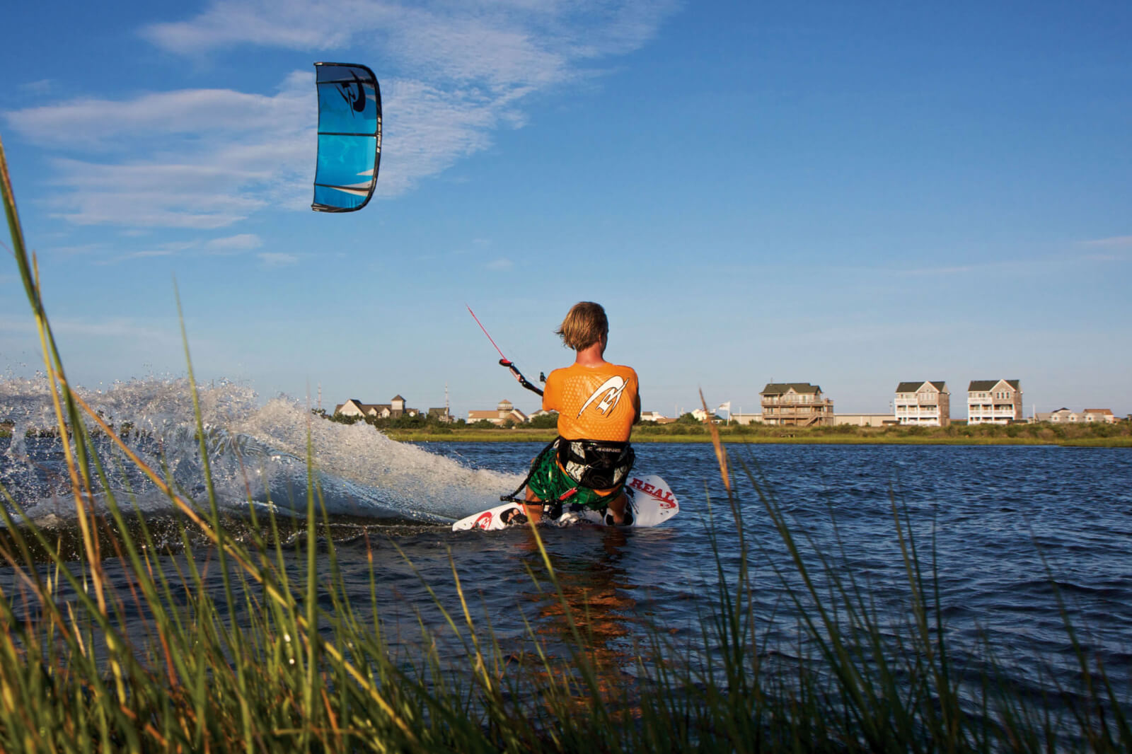 Kiteboarder in the water in The Outer Banks, NC