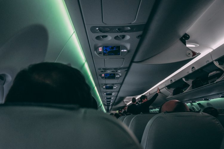 A view looking down the fuselage of an airplane. Flight attendants closing luggage compartments and the backs of seated passenger's heads.