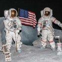 Exhibit of astronauts on the moon at NASA's Johnson Space Center in Houston, Texas