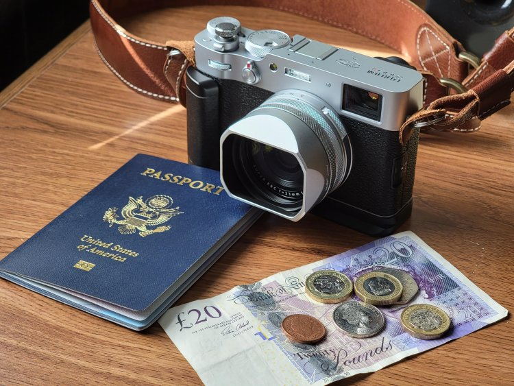 Image of a camera, passport and loose currency (bill and coinage) on a wood grain table.