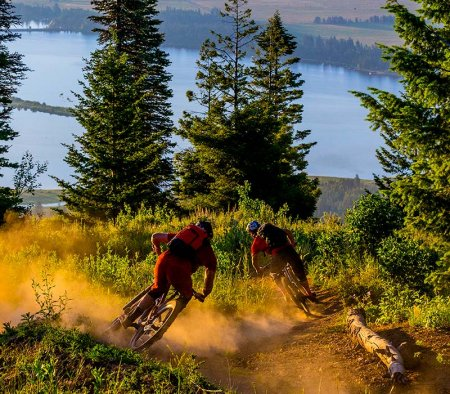 two men riding mountain bikes down a trail surrounded by trees with a lake in the distance at Tamarack Resort.
