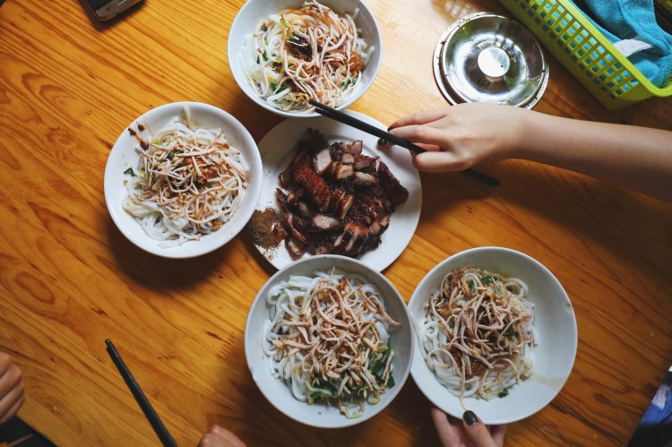 Asian style noodle bowl meals