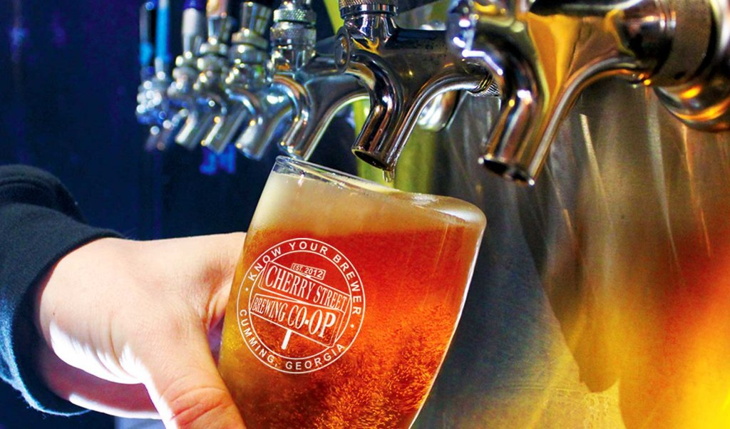 Glass of beer from Cherry Street Brewing Co-op in Cumming, Georgia