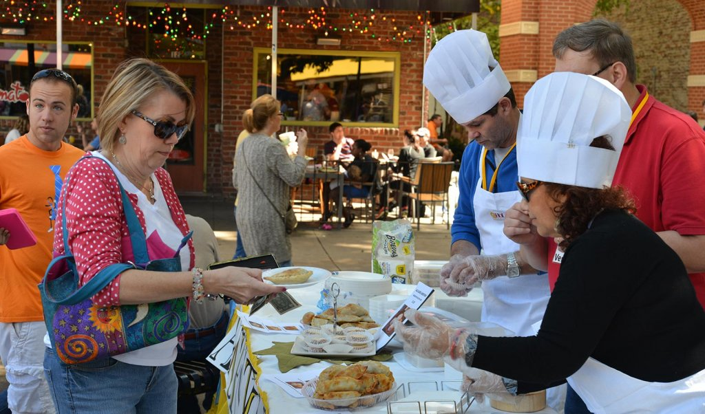 Event goers buying food at Knoxville's HoLa Festival