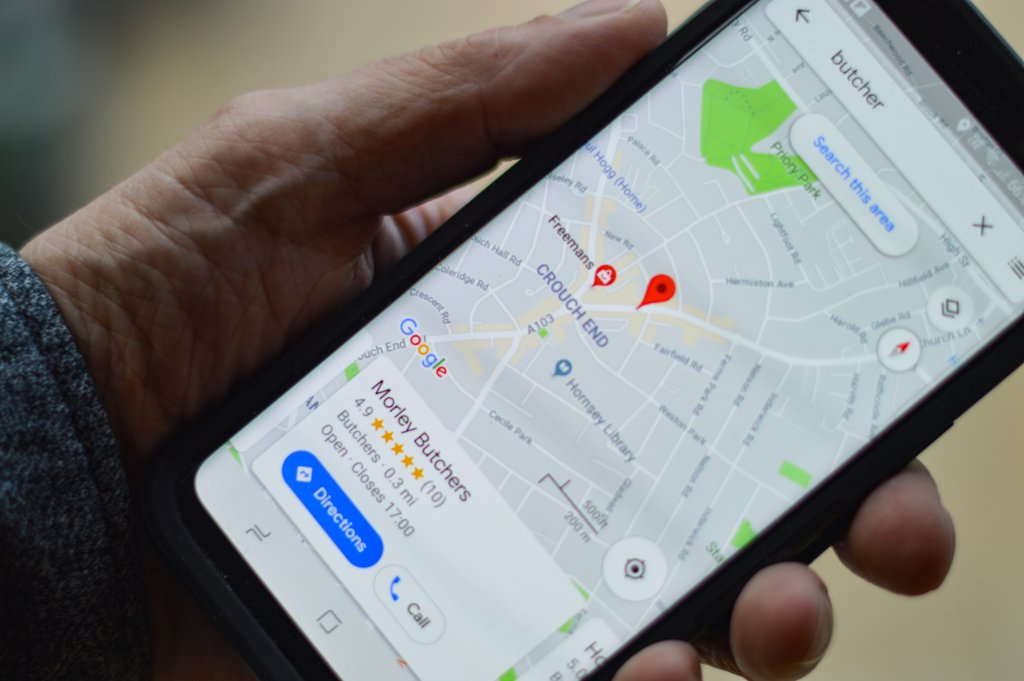 """Photo of Google maps on a phone leading to a destination called """"Morley Butchers""""."""