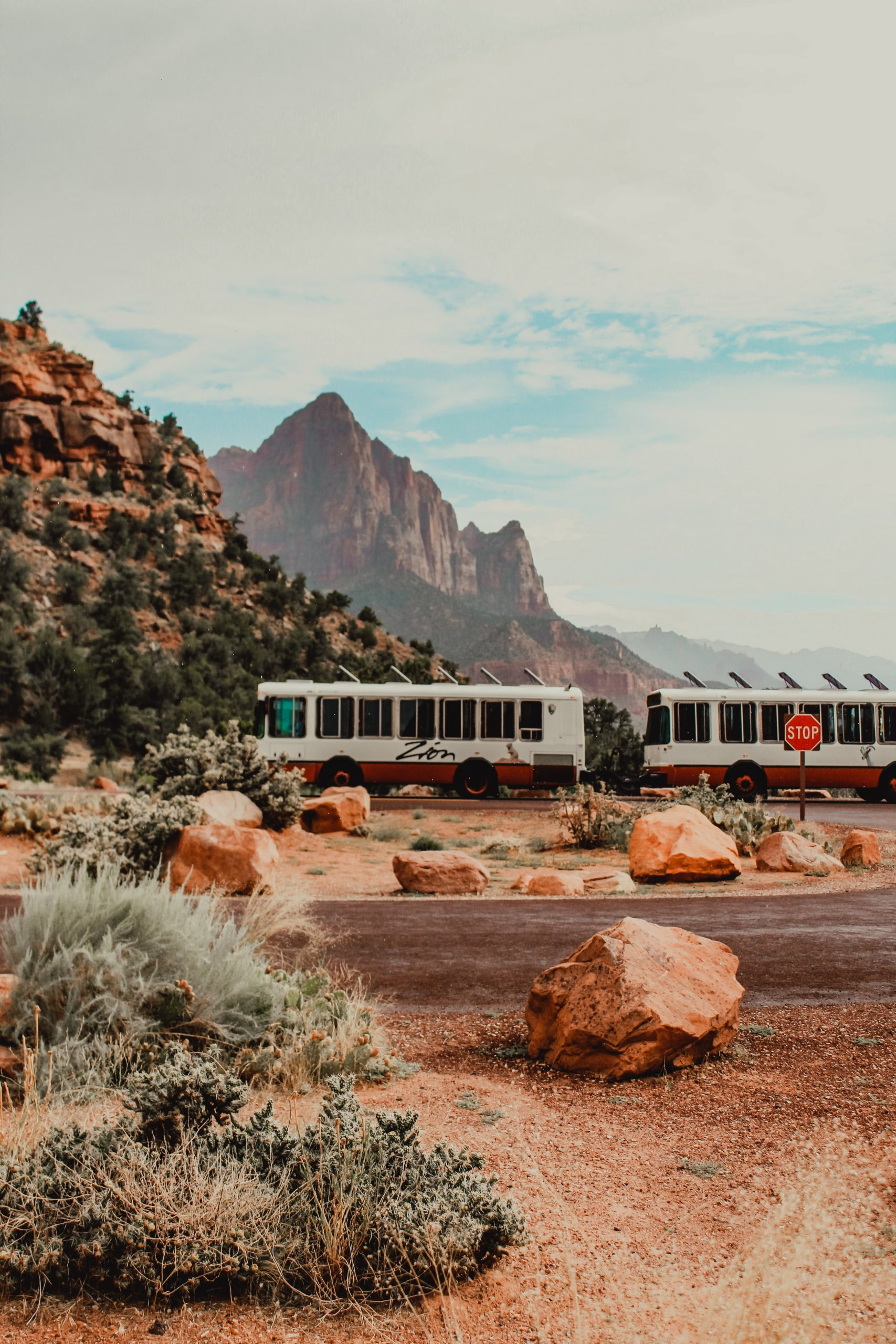 Shuttles driving at Zion National Park