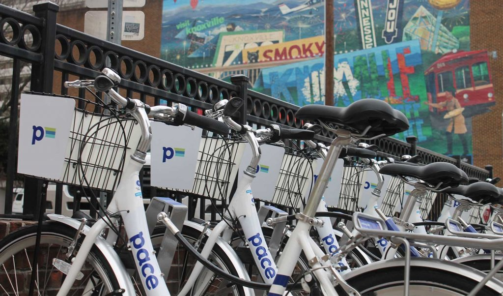 Pace Knoxville bike-share bikes