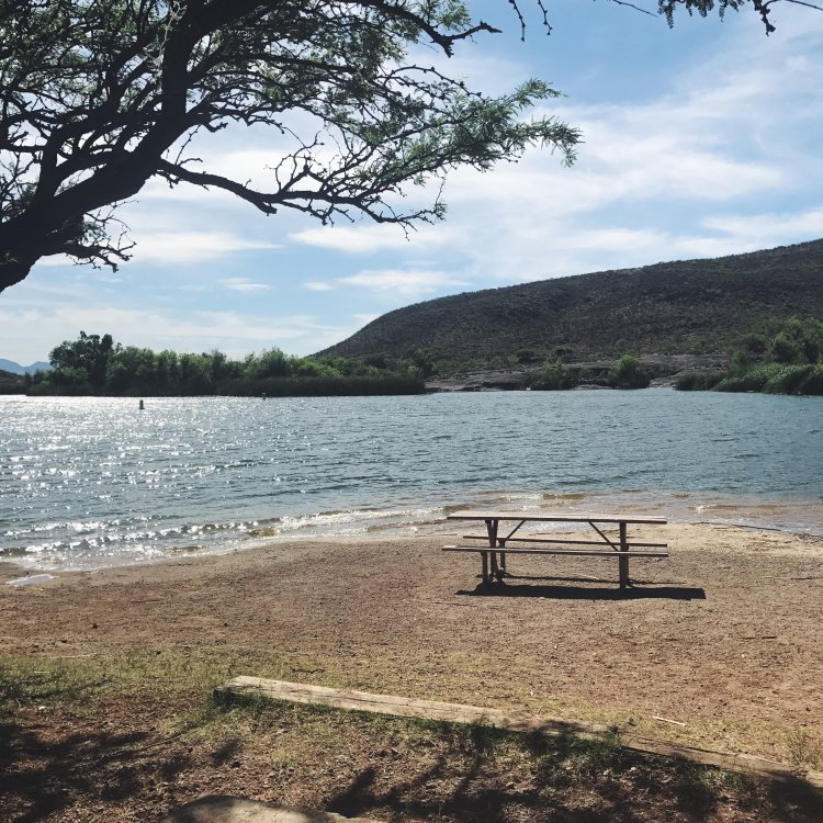 A beach area with a single picnic table overlooks placid waters and distant bluffs in Patagonia Lake.