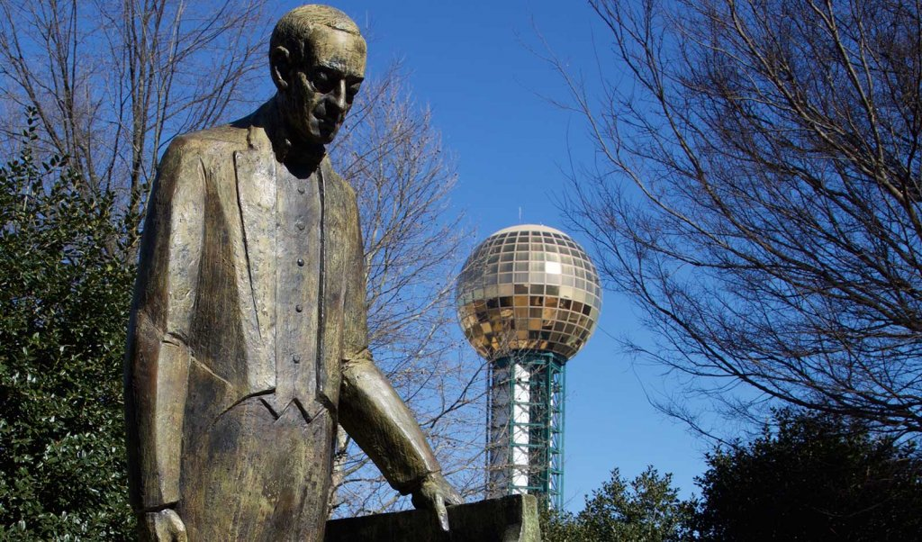 Rachmaninoff statue at World's Fair Park in Knoxville, Tennessee